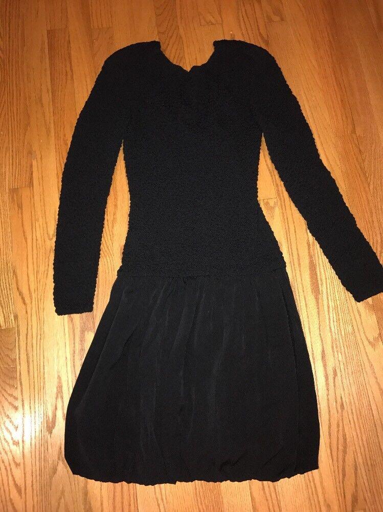 NICOLE MILLER Vintage schwarz Crepe Cocktail Dress 90's schwarz Sheath Prom Größe 6