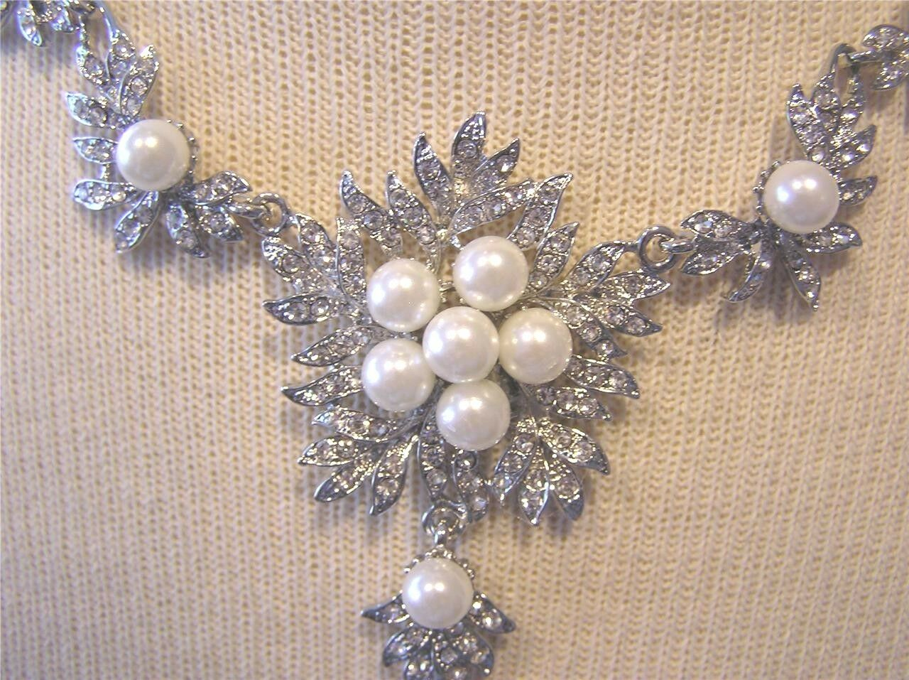 Wedding Bridal Necklace and earrings set Silver w/ faux pearls NEW in BOX