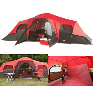 Details About Large Outdoor Camping Tent 10 Person 3 Room Cabin Screen Porch Waterproof Red