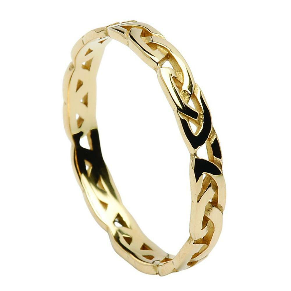 New Ladies 3mm 18ct Yellow gold Celtic Eternal Knot Ring Made in Ireland
