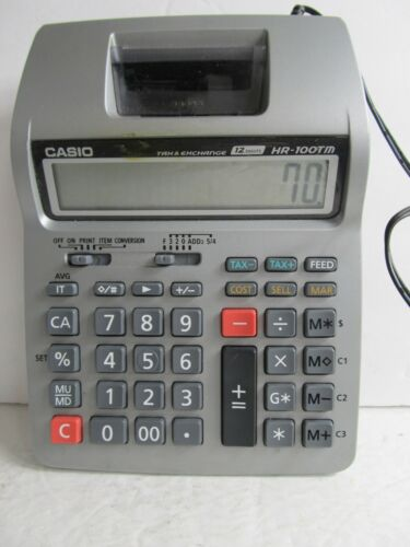 Casio HR-100TM 12 Digits Tax and Exchange Printing CalculatorTested-Works!