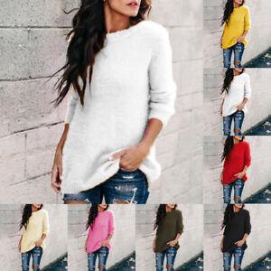 Women-Winter-Velvet-Solid-O-Neck-Long-Sleeve-Sweater-Thicker-Blouse-Plus-Size