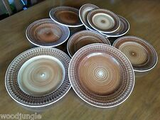 RARE 10p STERLING VITRIFIED CHINA PLATES BROWN SWIRL RESTAURANT WARE MID CENTURY