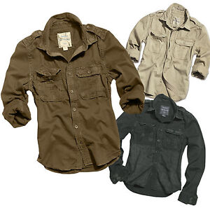 75a1cd0fc0f30 La imagen se está cargando Camisa-Manga-Larga-Lavada-Estilo-Militar-Hombre -SURPLUS-