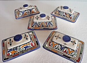 HAND-PAINTED-CERAMIC-LIDDED-BUTTER-DISH-MOROCCAN-POTTERY-BLUE-TOP