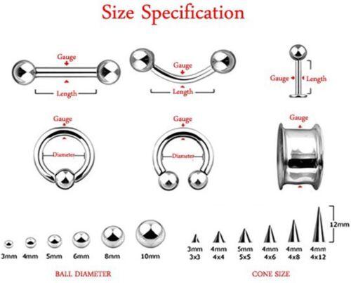 "Labret//Chin Stud w//Screw 4x7mm Spike 14 Gauge 3//8/"" Steel Body Jewelry"