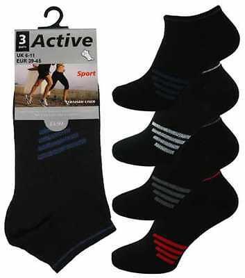 12 Mens Active Sport Cotton Rich Trainer Liner Socks / Black Stripe / Uk 6-11 Bequem Und Einfach Zu Tragen