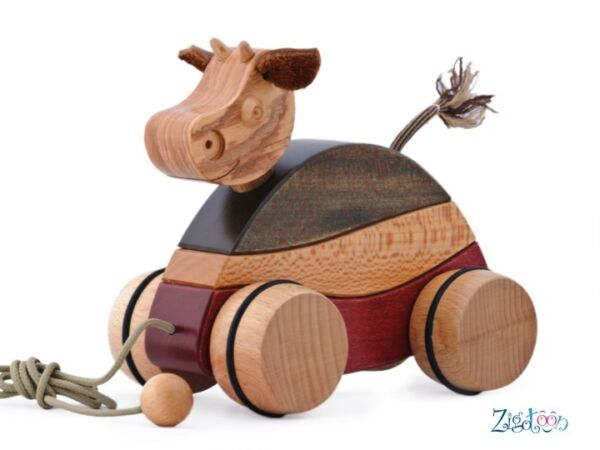 Expressif Pull Toy Cow Wooden Baby Green Toy, Birth Gift Made In France - New AgréAble En ArrièRe-GoûT