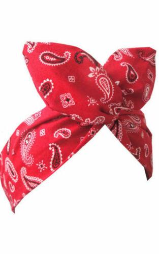 bandana Red paisley print wire headband rockabilly retro Pin up hair wrap