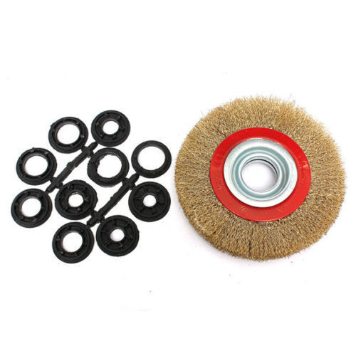 "8/"" INCH ROUND BRASS PLATED STEEL WIRE BRUSH WHEEL FOR BENCH GRINDER"