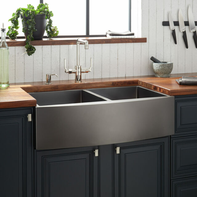 33 Atlas Double Bowl Stainless Steel Farmhouse Sink Curved Apron
