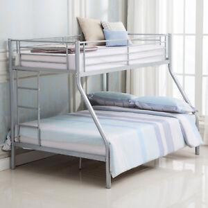 Silver Metal Twin Over Full Metal Bunk Beds Ladder Kids Teens Adult