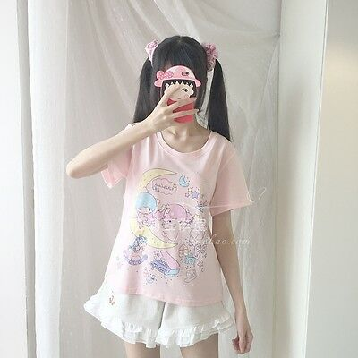 Summer Short Sleeve Cute Girl Tops Sweet Lolita Cartoon printing T-shirt