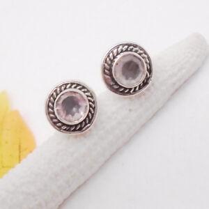 Rosenquarz-rosa-rund-Nostalgie-Design-Ohrringe-Ohrstecker-925-Sterling-Silber