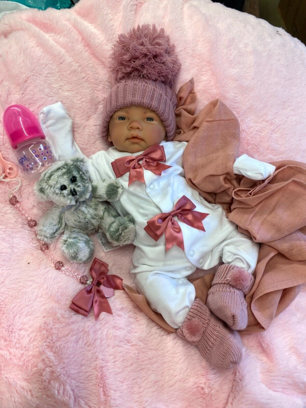 REBORN BABY GIRL SPANISH OUTFIT CRYSTAL DUMMY CLIP BEAR DUMMY AND BOTTLE C
