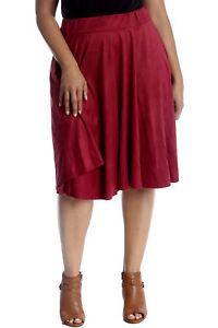 Das Beste New Womens Plus Size Skirt Ladies Skater Suede Plain Elastic Knee Long Warm Soft Jahre Lang StöRungsfreien Service GewäHrleisten Kleidung & Accessoires
