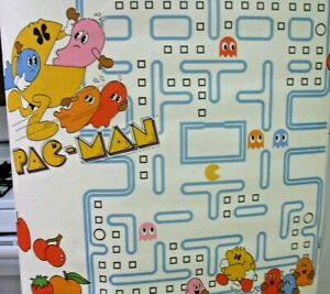 Vintage-Rare-Pac-Man-Wallpaper-1980-Bally-Midway-PacMan-Wall-Covering-13-ft