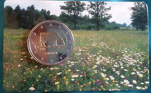 2 Euro Münze BU wie neu zwei Euro Lettland Kuh 2016 Coincard NEU selten
