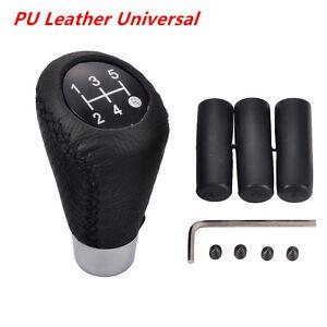 5Speed-PU-Leather-Black-Stitche-Manual-Car-Auto-Gear-Stick-Shift-Knob-Shifter