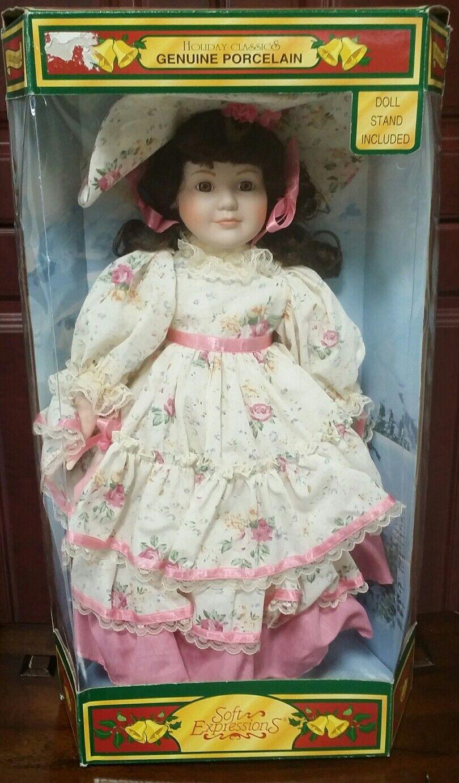 Nuevo En Caja Muñeca Colección De Porcelana Antiguo Victoriano Con Encaje Floral rosadodo Vestido Sombrero.