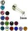 Tiny-Crystal-2MM-flat-gem-Steel-labret-lip-bar-monroe-helix-piercing-tragus-stud thumbnail 1