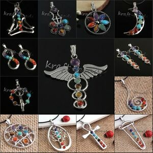 Silver-Plated-7-Gemstone-Beads-Chakra-Healing-Reiki-Energy-Point-Pendant-Jewelry