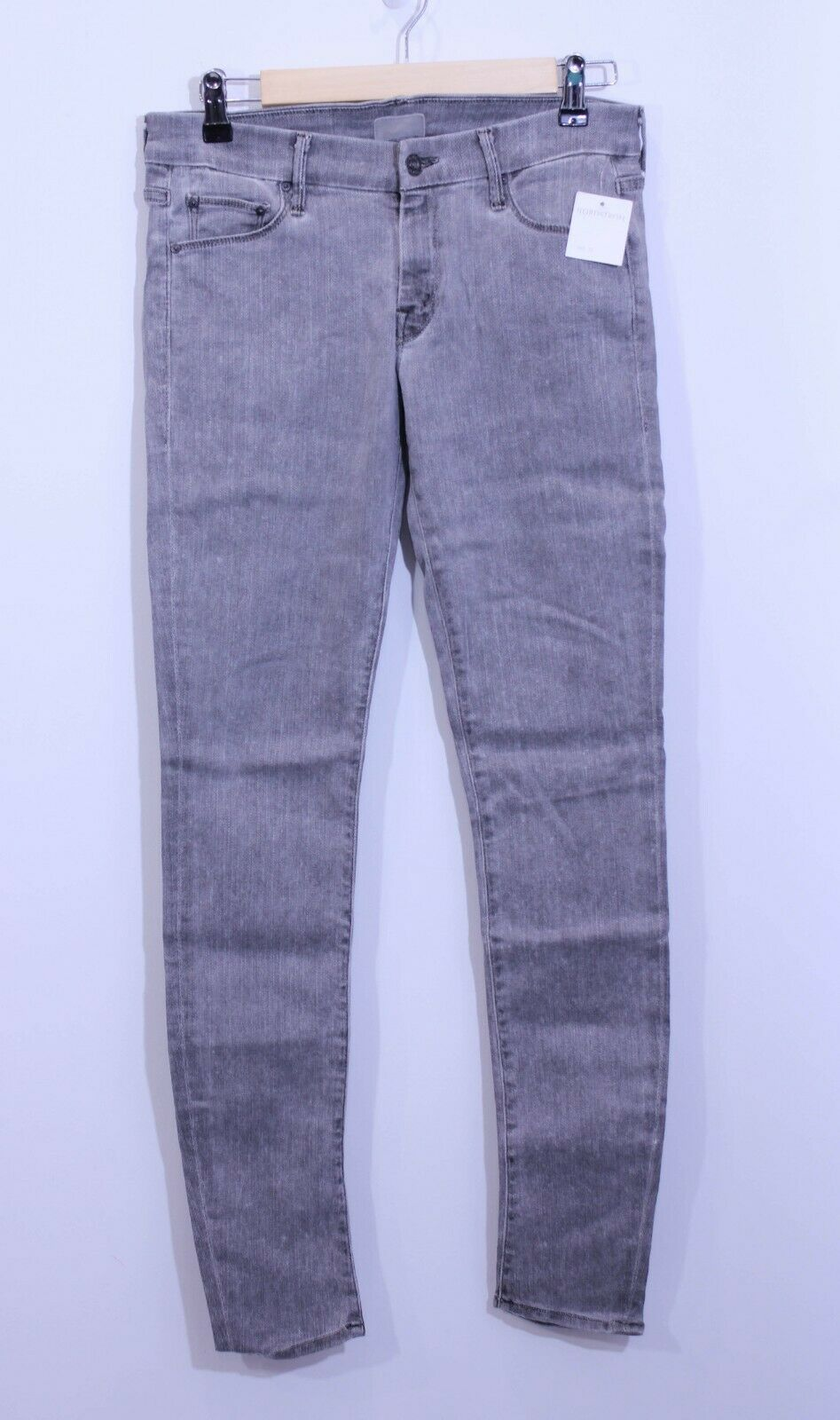 NWT MOTHER THE LOOKER BATTLEGROUND GREY LOW RISE SKINNY STRETCH JEANS SIZE 28