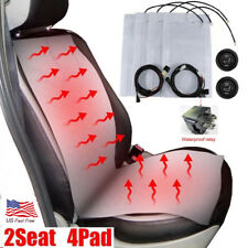 12V Hi-Lo 2 Seat Carbon Fiber Heated Seat for Car Round Switch Winter Universal