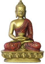 "Nepali Buddha in Meditation Pose Buddhism Statue Gold Red 5.5""H O-076GR"