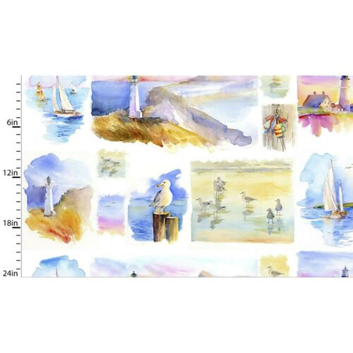 At The Shore Small Multi Panel 100/% Cotton Quilting Fabric PANEL ONLY