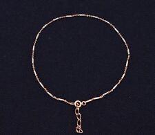 Technibond Tube Brite Anklet Bracelet 14K Rose Pink Gold Clad Silver Adjustable