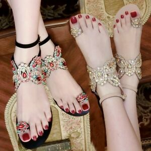 Bohemia-Womens-Ring-Toe-Rhinestones-Flats-Sandals-Bling-Bling-Ankle-Strap-Shoes