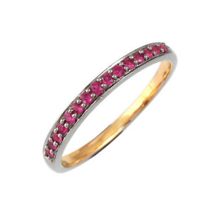 Halloween-Gift-925-Sterling-Silver-0-5ct-Ruby-Half-Eternity-Band-Ring-Jewelry
