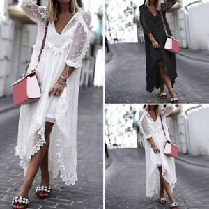 Sexy-Femme-Loose-Dentelle-Col-V-Manche-3-4-Cocktail-Party-Club-Maxi-Robe-Plus