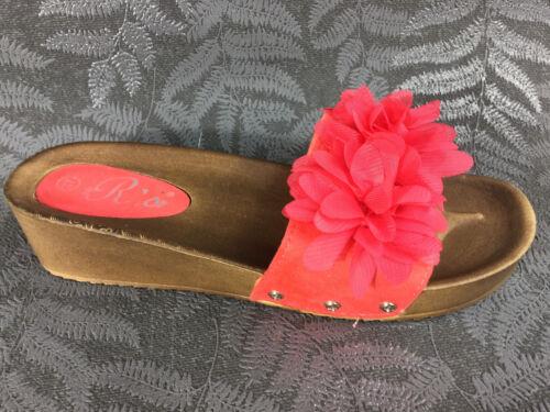 Damen Pantoletten Sandalen Sandaletten Blumen Keilabsatz Wedge neu ST586