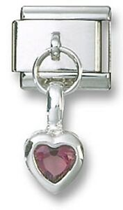 Italian-Charm-925-Sterling-Birthstone-Heart-Dangle-CZ-February-Stainless-Steel