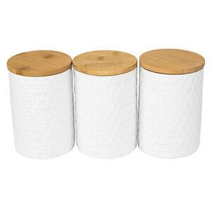 Typhoon Tea Coffee Sugar >> Set of 3 x White TRIANGULAR Canisters Wooden Lids Tea Coffee Sugar Storage Jars | eBay