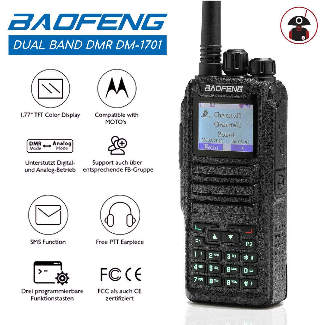 Details about Baofeng DMR *DM-1701* Dual Band VHF/UHF Tier2 3000CH SMS  Digital Two way Radio