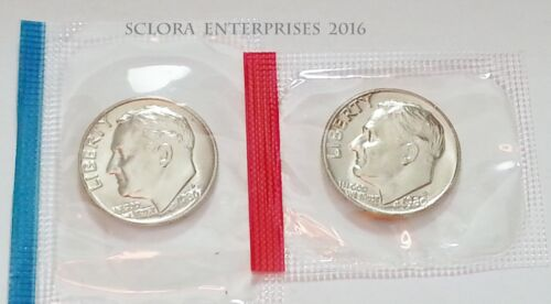 1980 P /& D Roosevelt Dime Set 2 Coins *MINT CELLO*   **FREE SHIPPING**
