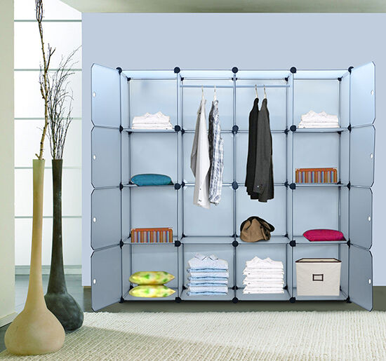 Portable Extra Wide Modular Storage Clothes Closet Organizer w/ 8 Enclosed Cubes