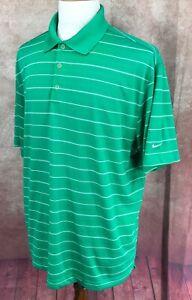 Nike-Golf-Dri-Fit-Short-Sleeve-Pullover-Polo-Green-White-Stripe-Shirt-Men-039-s-XL