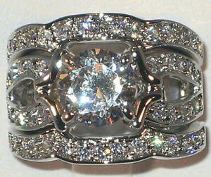 Majestic Antique 320 CT Cubic Zirconia Platinum Bridal Wedding Ring Set SIZE 7