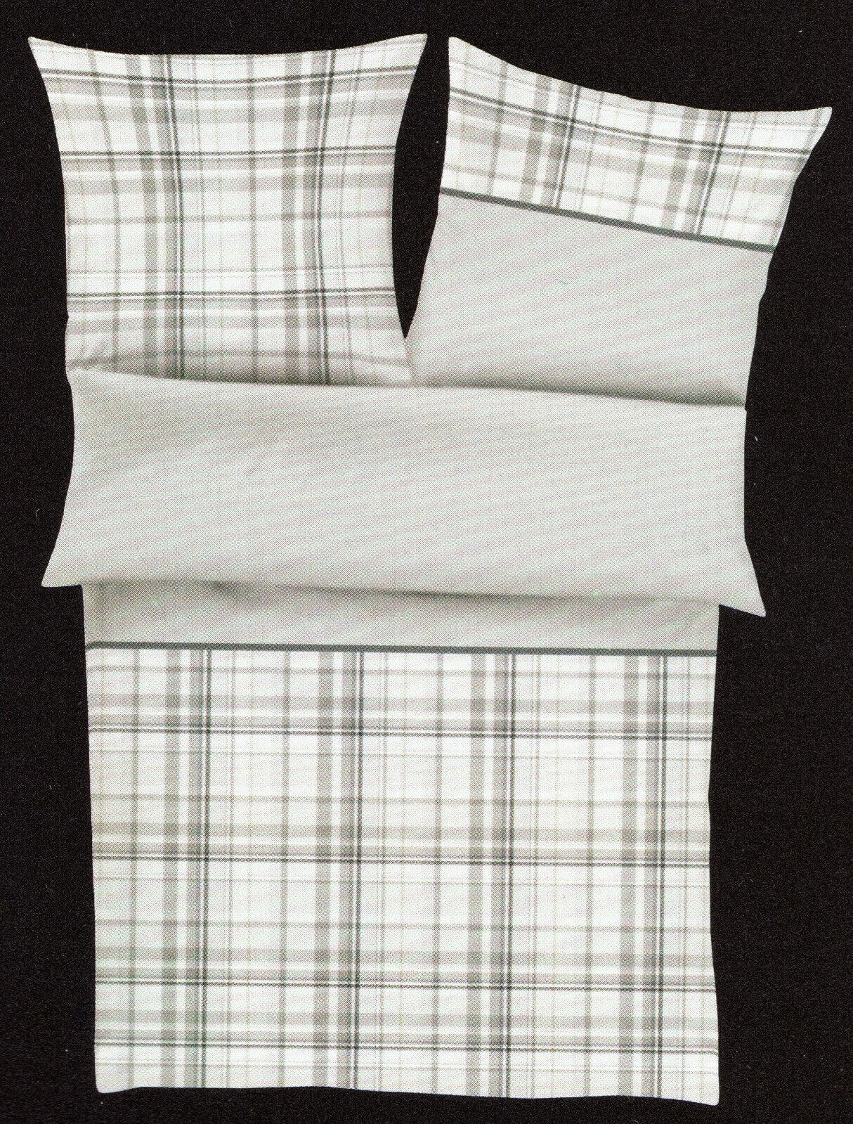 Götzburg Bettwäsche grau kariert - 155 x 220 cm - Baumwolle Renforcé - Übergröße     Outlet Store Online