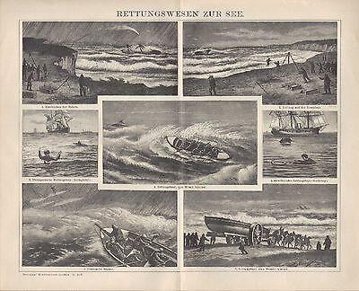 Lithografie 1898: Rettungswesen Zur See. Rettungsboot Hosenboje Cordessche Büchs