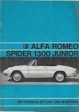 ALFA ROMEO SPIDER 1300 Junior manuale di istruzioni 1968 manuale BA