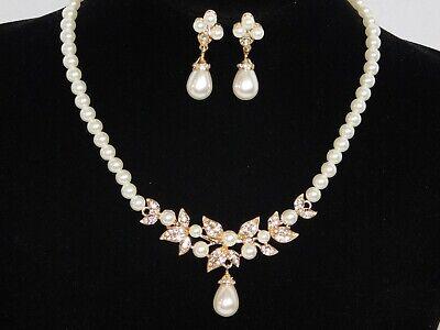 Wedding Rhinestone and Pearl Bridal Wedding Necklace and Rhinestone Stud  Earring Set Bride or Bridesmaid Jewelry SetWedding Jewelry