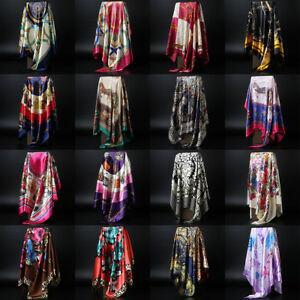 Fashion-Scarf-Women-Navy-Blue-Print-Satin-hijab-tete-carree-chale-Wraps-90-90cm