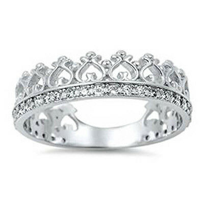 Cubic Zirconia Crown Eternity Band .925 Sterling Silver Ring Sizes 4-11