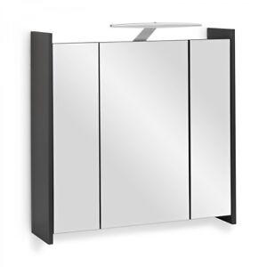 Spiegelschrank elegance anthrazit mit led beleuchtung 70cm mit steckdose ebay for Spiegelschrank mit steckdose