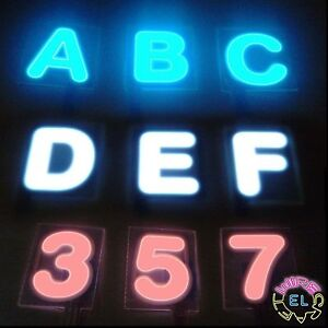 GLOWING-LETTERS-3-each-4cm-x-4cm-Thin-EL-Tape-Panels-In-Shape-Of-Alphabet-led